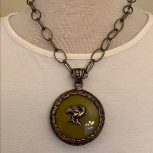 Olive green reversible necklace with duck